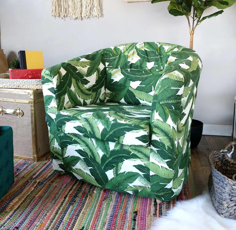 Tropical Leaf IKEA TULLSTA Chair Covers, Summer House Ikea Decor, Tommy  Bahama Indoor Outdoor Jungle Chair Cover Custom Chair Slip Cover