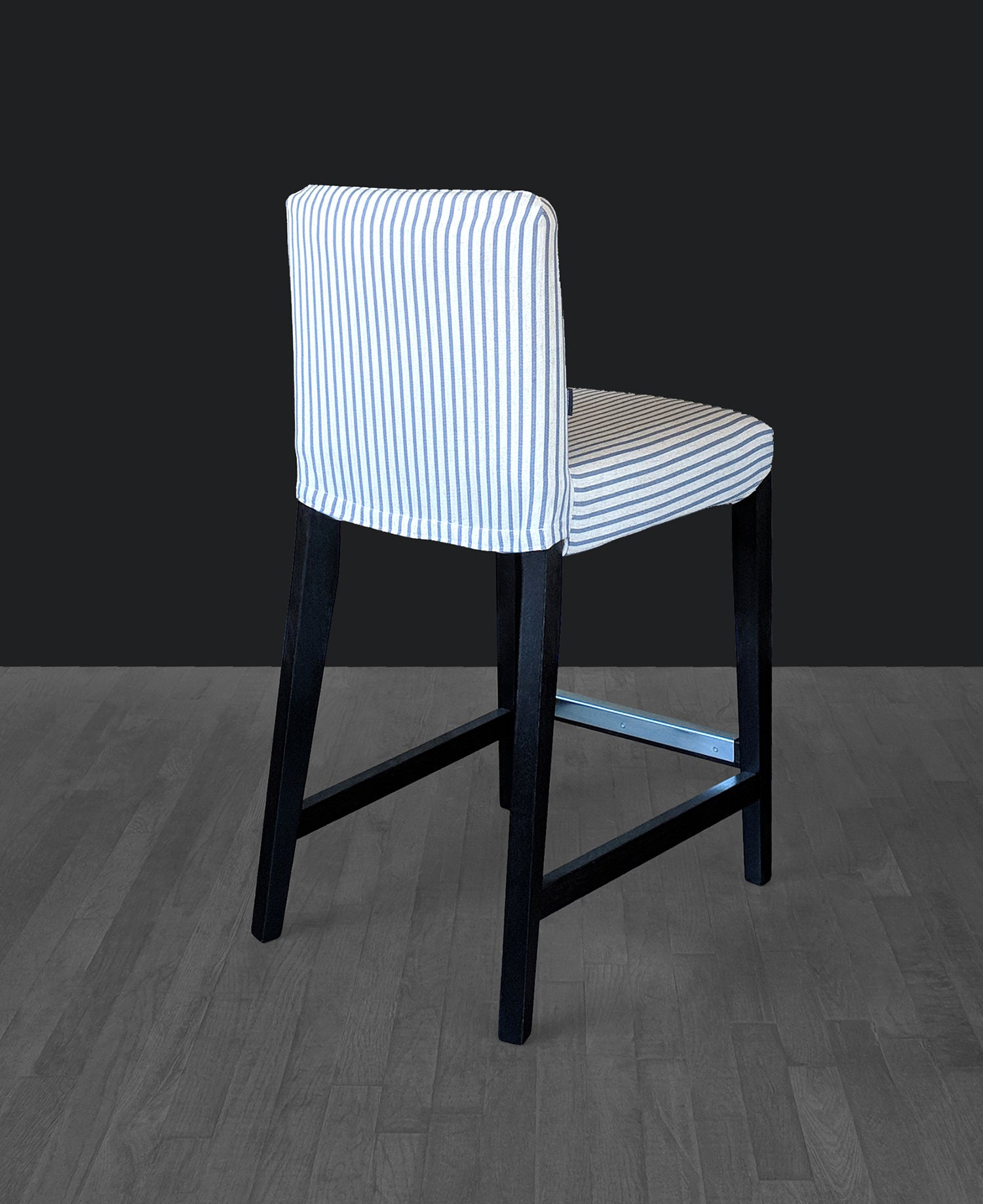Sale Navy Blue Ticking Stripe Custom Henriksdal Chair