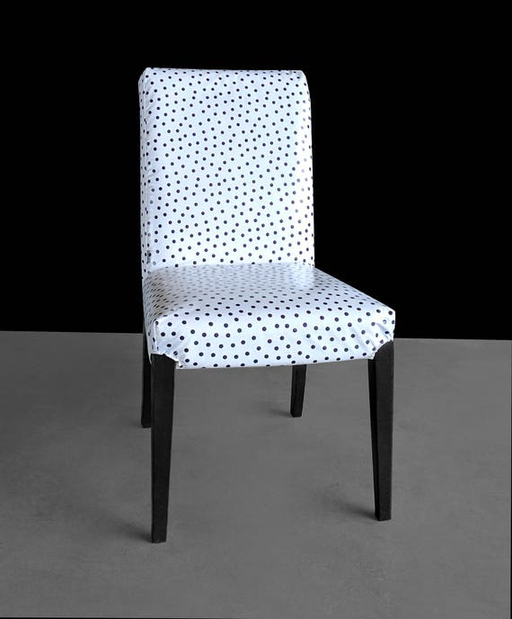 Fabulous Polka Dot Wipeable Oilcloth Custom Ikea Henriksdal Dining Chair Cover Beatyapartments Chair Design Images Beatyapartmentscom