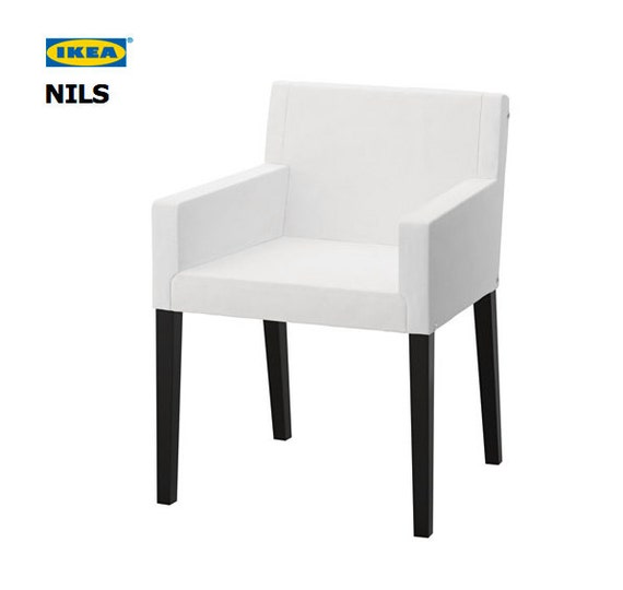 Black Linen IKEA NILS Chair Cover in