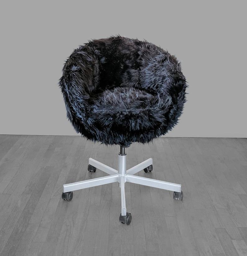 Bureaustoel Skruvsta Wit.Ikea Skruvsta Stoel Slip Cover Draaistoel Cover Zwarte Faux Fur