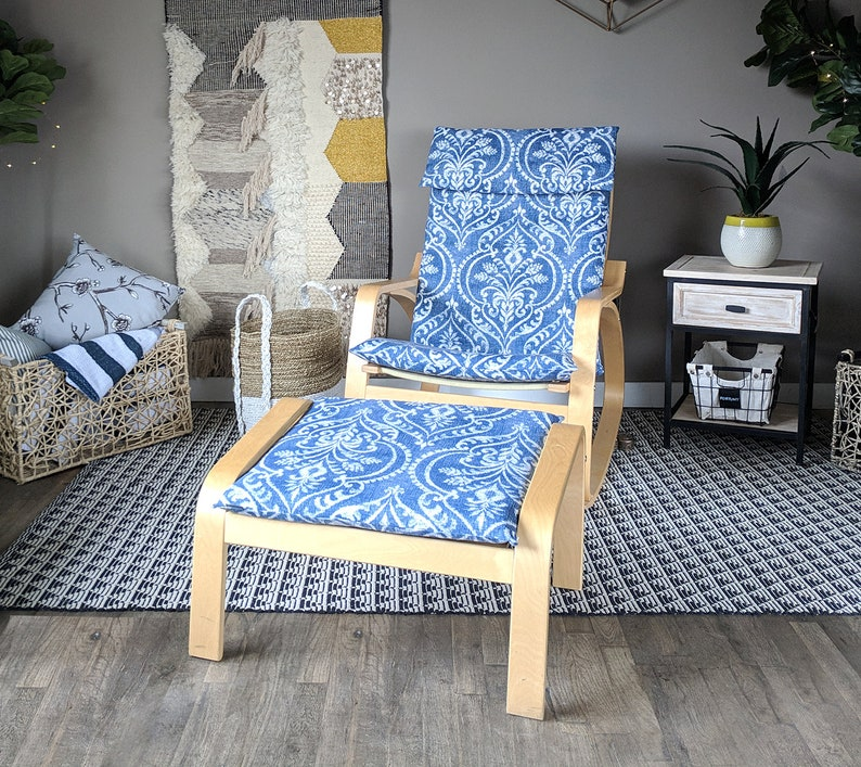 Peachy Blue Denim Damask Ikea Poang Chair Cover Floral Ikea Seat Cover Theyellowbook Wood Chair Design Ideas Theyellowbookinfo