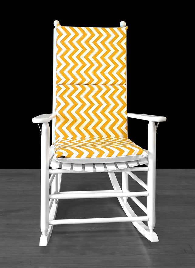 Yellow Gold Zig Zag Rocking Chair Cover Yellow Chevron Seat | Etsy