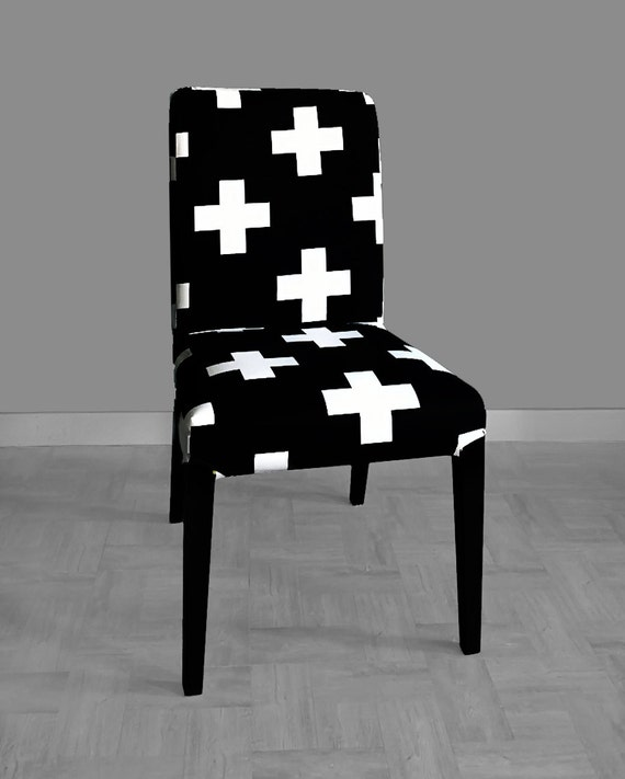 Amazing Black White Swiss Cross Henriksdal Dining Chair Cover Pdpeps Interior Chair Design Pdpepsorg