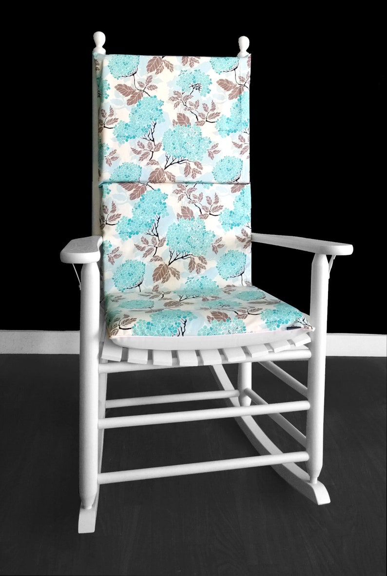 Enjoyable Blue Hydrangea Rocking Chair Cover Adjustable Reversible Rocking Chair Cover Machost Co Dining Chair Design Ideas Machostcouk