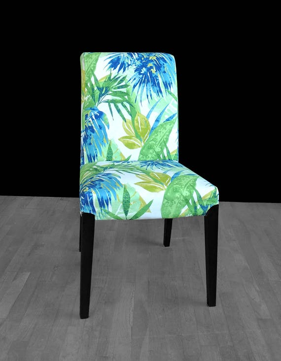 Ikea Leaves | Blue Green Leaf Print Ikea Henriksdal Dining Chair Cover Etsy