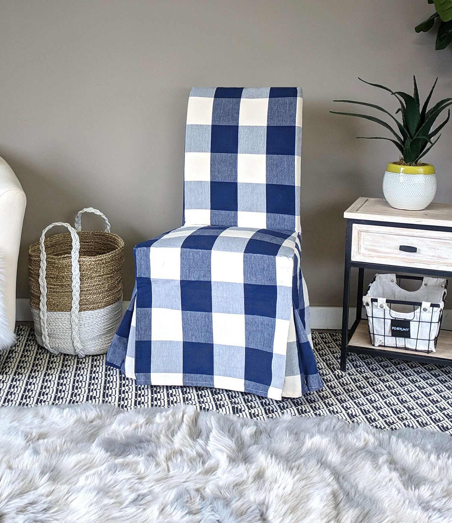 Ikea Dining Chair Cover Buffalo Check Navy Blue