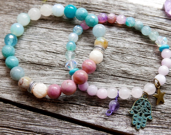 Crystal bracelets for Love | Love Bracelet Stack | Amazonite Rose Quartz Rhodonite Gemstone Mala Bracelets with charms | Women Gifts