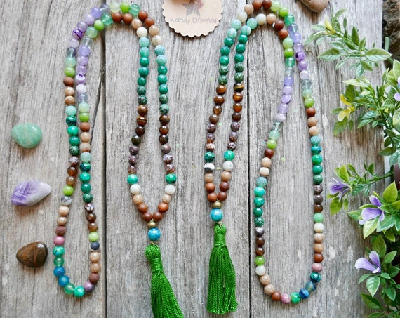 Anti Stress 108 Mala Necklace, Anti-Anxiety Japa Mala Beads for Stress Relief. 8mm Amethyst, Tiger's Eye, Fluorite, Sandalwood, Agate