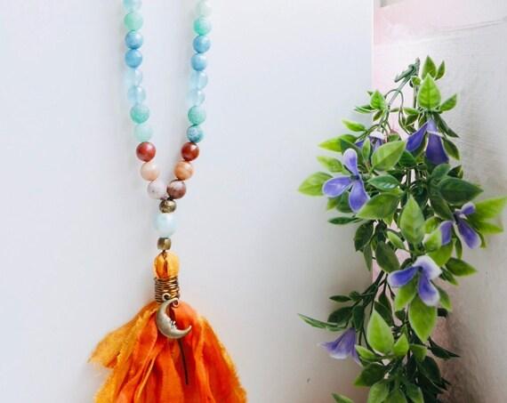 Shine 108 Mala Necklace Sari Silk tassel | Chakra Mala: Amazonite Quartz Mala Tiger Eye Citrine | 108 Mala beads | Yoga gift, Yoga jewelry