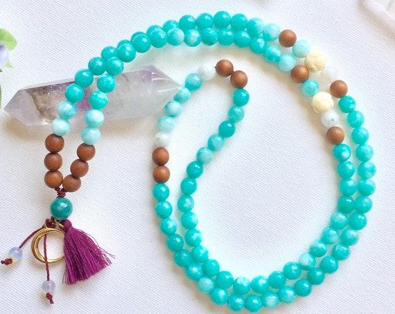 New Moon 108 Mala Necklace. Mala for Love & Calm. 8mm Angelite, Moonstone, Sandalwood, Larimar Mala Necklace with tassel. Yoga jewelry