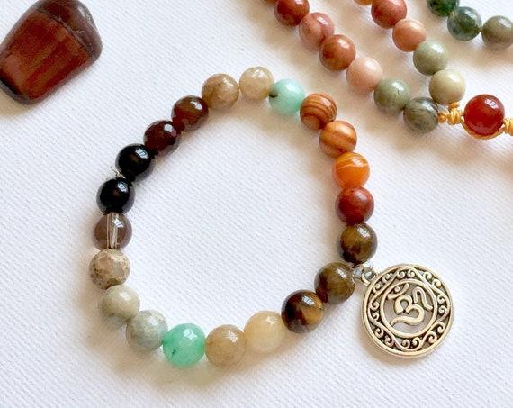 Solar Plexus Chakra Bracelet 'Hope'. Yoga Jewelry Protection Energy Bracelet, Mantra Kundalini jewelry, Healing stones Chakra Mala