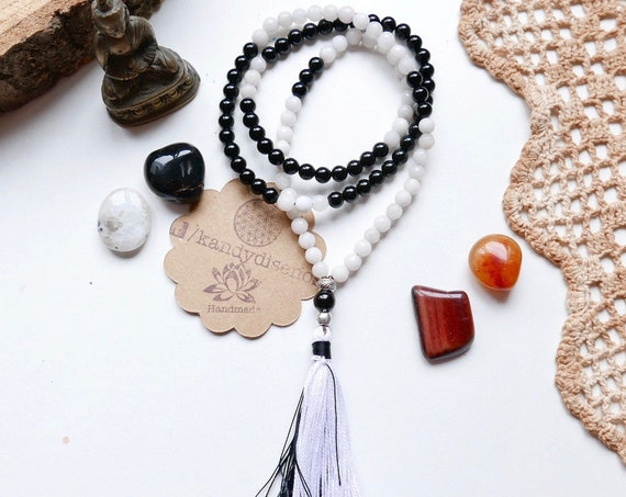 108 Japa Mala Necklace with Tassel for Protection & Balance ॐ Small beads Mala 6mm Onyx and Agate - Meditation Gifts - Yoga Jewelry