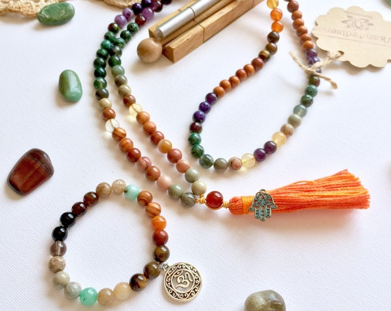 Chakra Stones 108 Mala Necklace & Bracelet 'Hope' | Chakras + Protection Mala Set | Chakra Balance Healing Jewelry Set for Protection