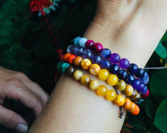 7 Chakras Mala Necklace 108 beads Bracelet, Chakra Stone Jewelry for Balance, Strength and Optimism. Small Mala beads necklace (6mm)