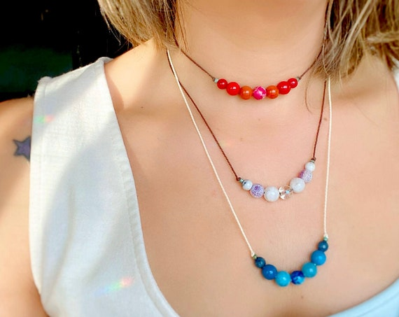 Chakra Crystals Chokers Necklaces. Healing Chakra Necklaces. Simple Boho Necklaces with Chakra Stones. Adjustable. Chakra Jewelry Spiritual