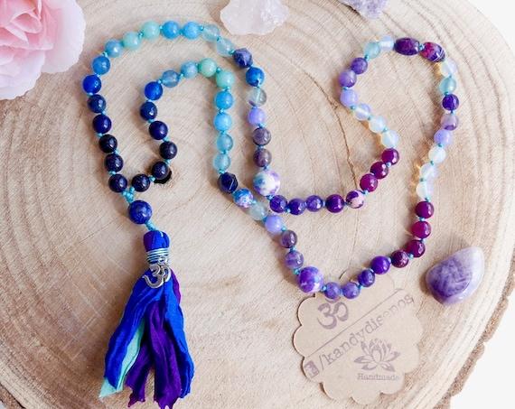 Mini Mala Necklace Sari Silk tassel for Women Mystical Child | Mala Inspired Necklace Lapislazuli Amethyst necklace | Mala Yoga jewelry