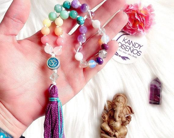 Chakras Pocket Mala tassel. 27 beads Mini Mala Chakras 7 Chakra Stones, Chakra Jewelry, Mala beads Yoga gift, Pastel Stones Pocket Mala Yoga