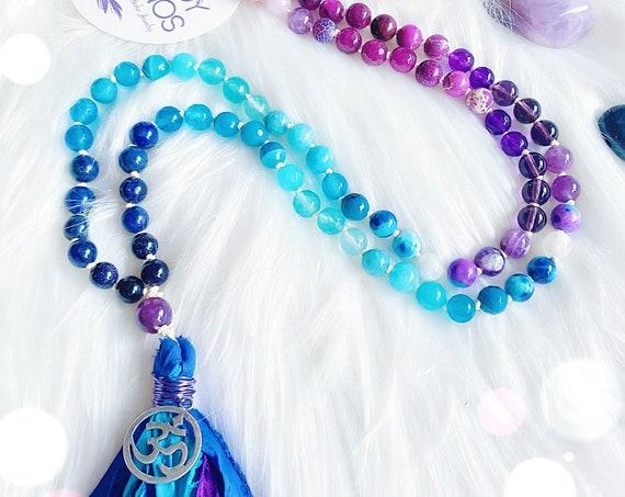 108 Mala Necklace Mystical Love Sari Silk tassel. Ombre Boho Mala Necklace 8mm Moonstone Rose Quartz Lapis Amethyst, 108 Japa Mala beads