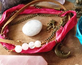 Moon Stars wrap anklet. Boho ankle bracelet. Pink boho anklet. Moon star anklet, Sari silk anklet, Moonstone anklet, boho jewelry, stars