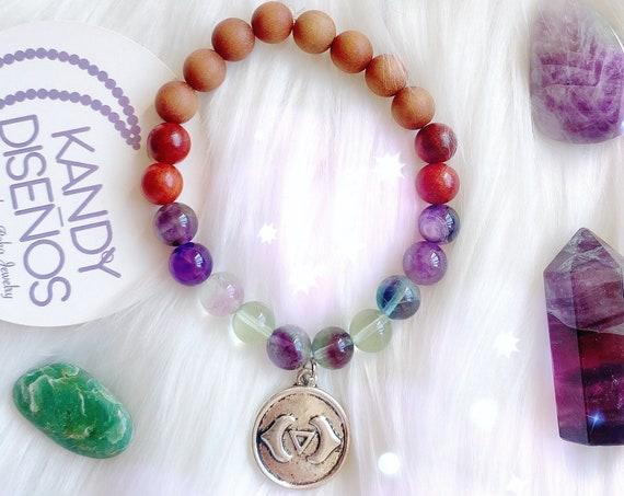 Third Eye Chakra bracelet Intuituion, Amethyst Fluorite Sixth Chakra healing crystals 8mm beads Bracelet. Chakra Jewelry Meditation Bracelet