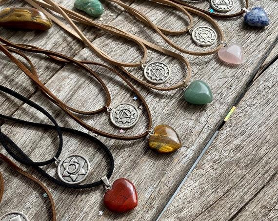 Chakra Necklaces, Heart Chakra Pendants, Chakra Stones, Layered Necklaces, Chakra Jewelry, Spiritual Jewellery, Yoga Jewellery kundalini