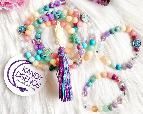 Chakra Stones 108 Mala Necklace & Bracelet. Chakras Mala Set of 2 or 3 pieces. Chakra Balance Healing Jewelry Set, Ganesha Protection Mantra