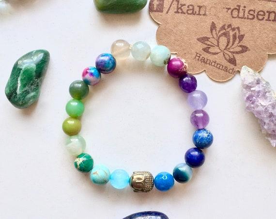 Wisdom ॐ Intuition Bracelet. Amethyst, Lapis, Amazonite, Fluorite Mala bracelet | Yoga Jewelry | Kundalini Energy Bracelet