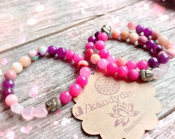 Dharma Bracelet for Love ॐ Heart Chakra Healing Bracelet, 8mm Rose Quartz, Jasper, Moonstone, Pink Agate - Women Gifts - Yoga Jewelry