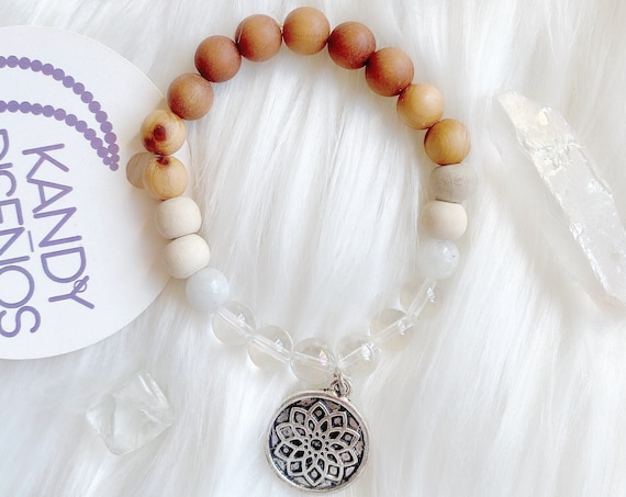Crown Chakra bracelet Spiritual Wisdom Moonstone Clear Quartz Chakra healing crystals 8mm beads Bracelet. Chakra Jewelry Meditation Bracelet