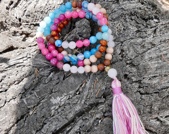 Love 108 Mala Necklace for Calm, Peace, Relieve Stress. Rose Quartz, Sandalwood, Angelite Mala beads with multicolor tassel
