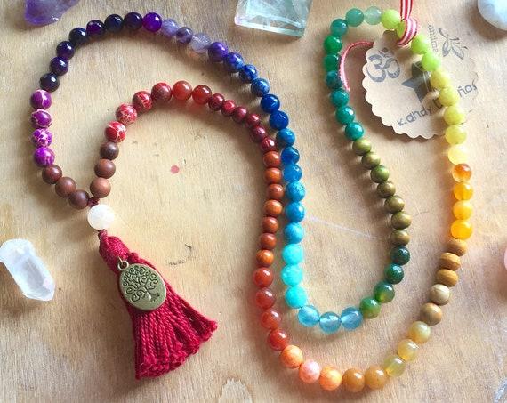 Chakras 108 Mala Necklace tassel ॐ 7 Chakras Japa Mala beads: 8mm Chakra Stones ॐ Chakra Jewelry
