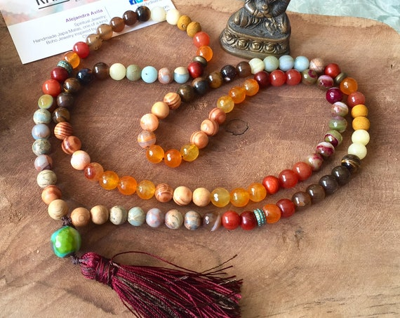 108 Mala Necklace Earth. Gemstone Japa Mala 108 Mala beads, Yoga gift, Yoga jewelry, 108 beads, prayer beads, reiki mala, Wood Japa Mala