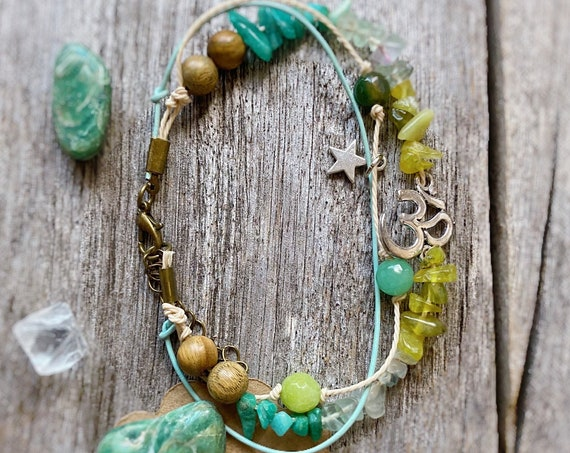 Boho Anklet Anahata Heart Chakra with Ohm. Crystal anklet, Boho jewelry, Bohemian Ankle Bracelet Summer Ibiza Beach Jewelry Stack Bracelets