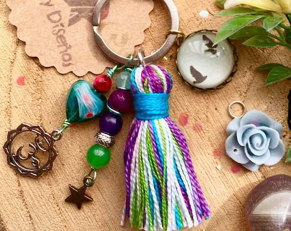 Boho Keychain, Hippie Crystal Keychain. Flying birds key ring. Multicolor Key Ring. Tassel Keychain for women ॐ Boho Charms Key Chain