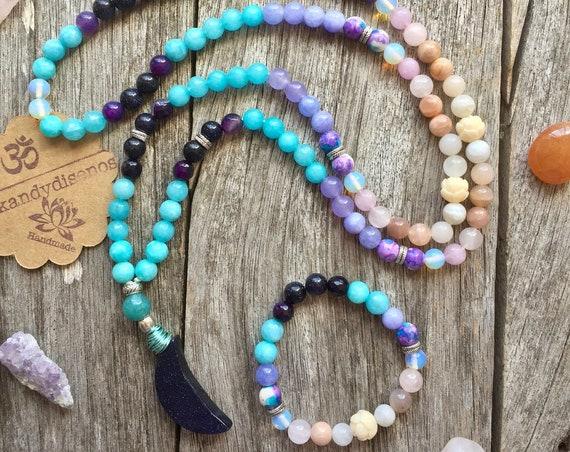 108 Mala Necklace Moon Child | Moon Mala Set | Healing Moonstone Mala | Ra Ma Da Sa Mantra | 108 beads Japa Mala | Yoga gift | Boho jewelry