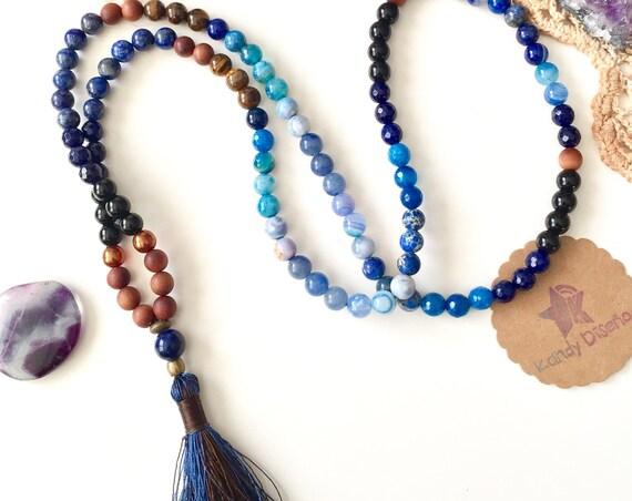 108 beads Lapis Mala Necklace Serenity & Communication | Lapis Lazuli Sandalwood Gemstone Mala | Japa Mala | Healing Necklace | Tassel Mala