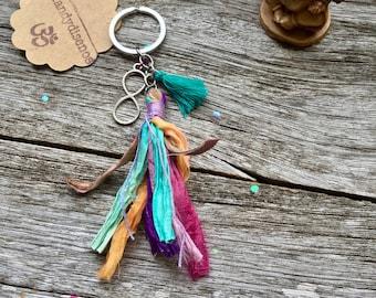 Boho Keychain. Tassel Keychain. Keychain for women ॐ Yoga keychain for Balance & Peace. Sari Silk Tassel Infinity Keychain. Spiritual Gift
