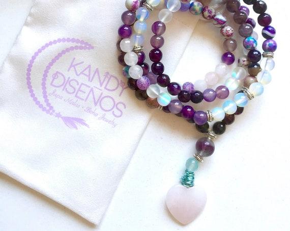 108 beads Mala Necklace Rose Quartz Heart   Mala for Peace Happiness   Amethyst, Rose Quartz, Jasper, Fluorite