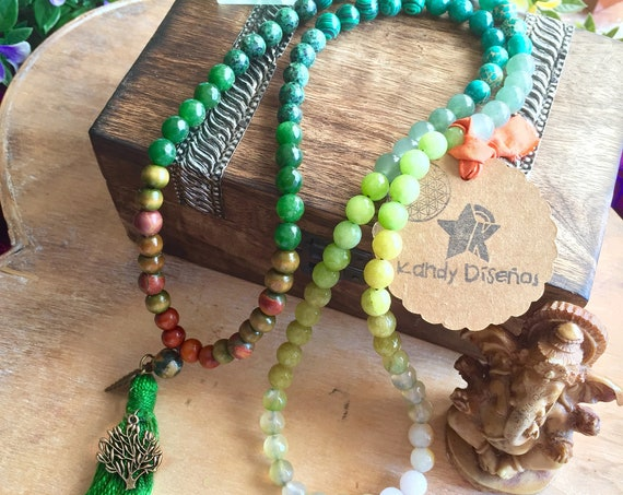 Forest Child Mala necklace 108 beads with Tassel and Tree of Life | Heart Chakra Japa Mala 8mm Malachite, Aventurine, Agate, Moonstone, Jade