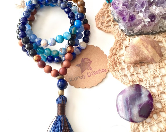 108 beads Japa Mala Necklace Lapis Lazuli, Mala Beads for Men, Yoga Jewelry, Japa Mala Yoga, Men Gift, Men Prayer Beads Tassel