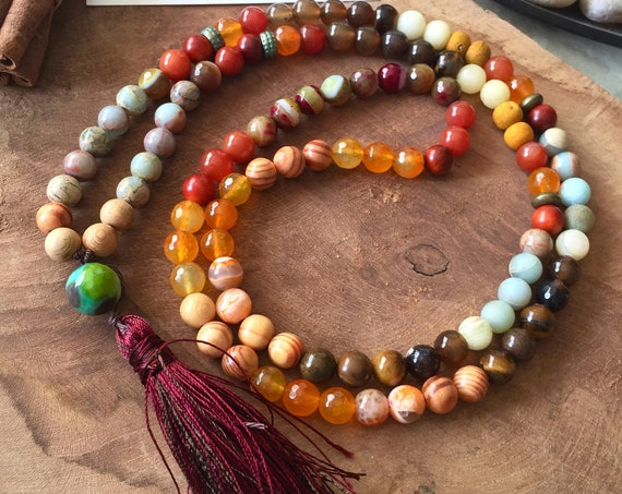 Earth 108 Mala Necklace for Root, Sacral, Solar Plexus chakras. 8mm Smoky Quartz, Tiger Eye, Jasper, Protective wood, Amazonite. Yoga Gifts