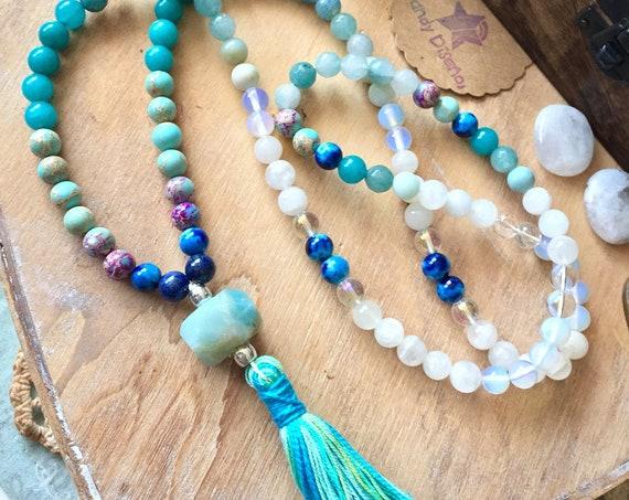 Mermaid Moonstone 108 Mala Necklace. Yoga Mala for Love & New Beginnings. Amazonite Lapis Lazuli Moonstone Jasper Mala Necklace with tassel