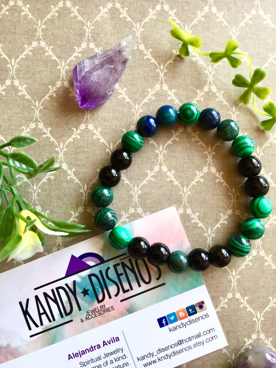 Malaquite bracelet · Gemstone Bead bracelet · Onix Bracelet, Green yoga mala bracelet for Healing
