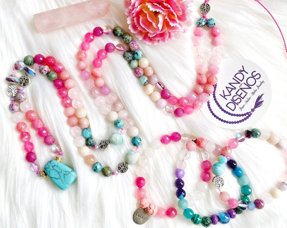 108 Mala Necklace & Bracelet Jewelry Set | Bliss Mala Set 2, 3, 4 pieces for Love | Yoga Jewelry | Turquoise, Rose Quartz, Moonstone