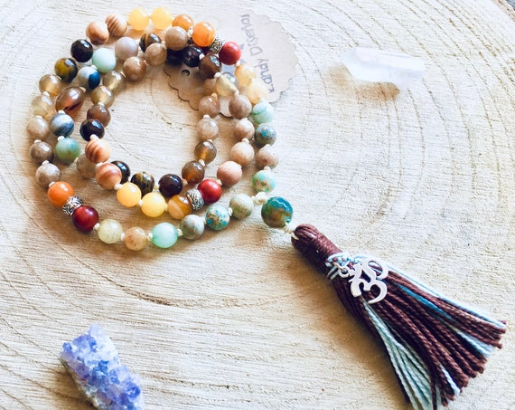 Earth Kids Mala beads necklace | Kids Mini Mala | Kids Yoga jewelry | Child mala Gemstone necklace | Chakra Spiritual Reiki Gift Children