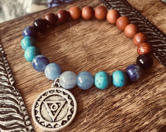 5 Chakra Gemstone bracelet for Communication · Sat Nam Wahe Gurú Bracelet · Chakra Jewelry. Healing Bracelet, chakra Bead Bracelet, mantra