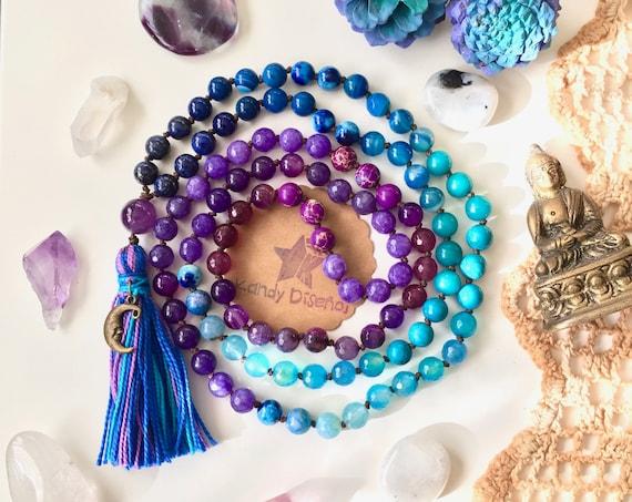 Moon 108 Mala Necklace tassel. Amethyst Lapislazuli Quartz Mala, 108 Mala beads, Yoga gift, Quartz Japa Mala, Yoga jewelry moon