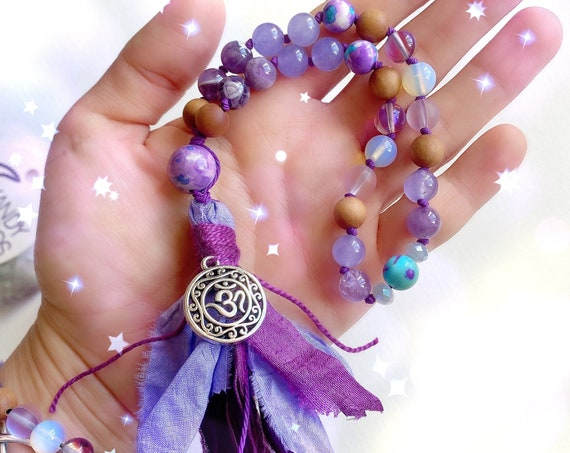 Shakti Amethyst Pocket Mala. 27 beads Mala for Third Eye & Shakti Energy. Jasper Amethyst Sandalwood Quarter Mala with tassel. Yoga jewelry