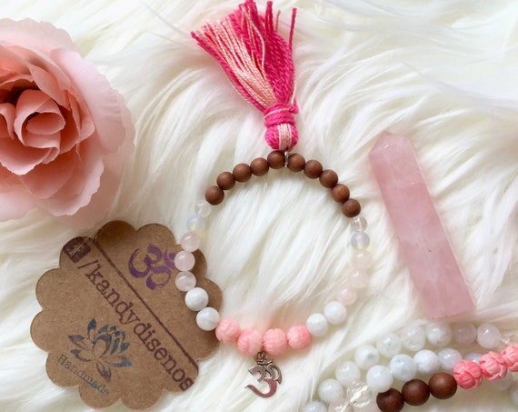 Bloom Moonstone Bracelet Mala for Love & Balance. Stretchy bracelet with tassel, 6mm Sandalwood, Moonstone, Rose Quartz and Ohm Charm
